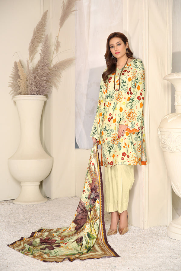 D 14 - Digital Printed Linen 3PC