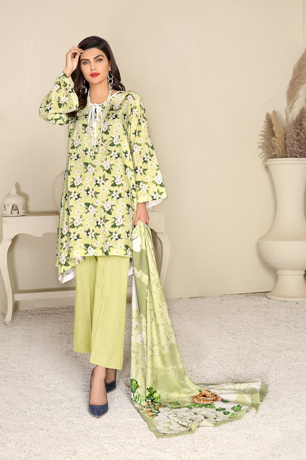 D 20- Digital Printed Linen 3PC