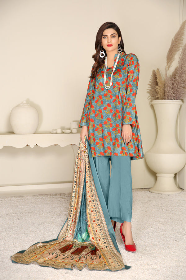 D 12 - Digital Printed Linen 3PC