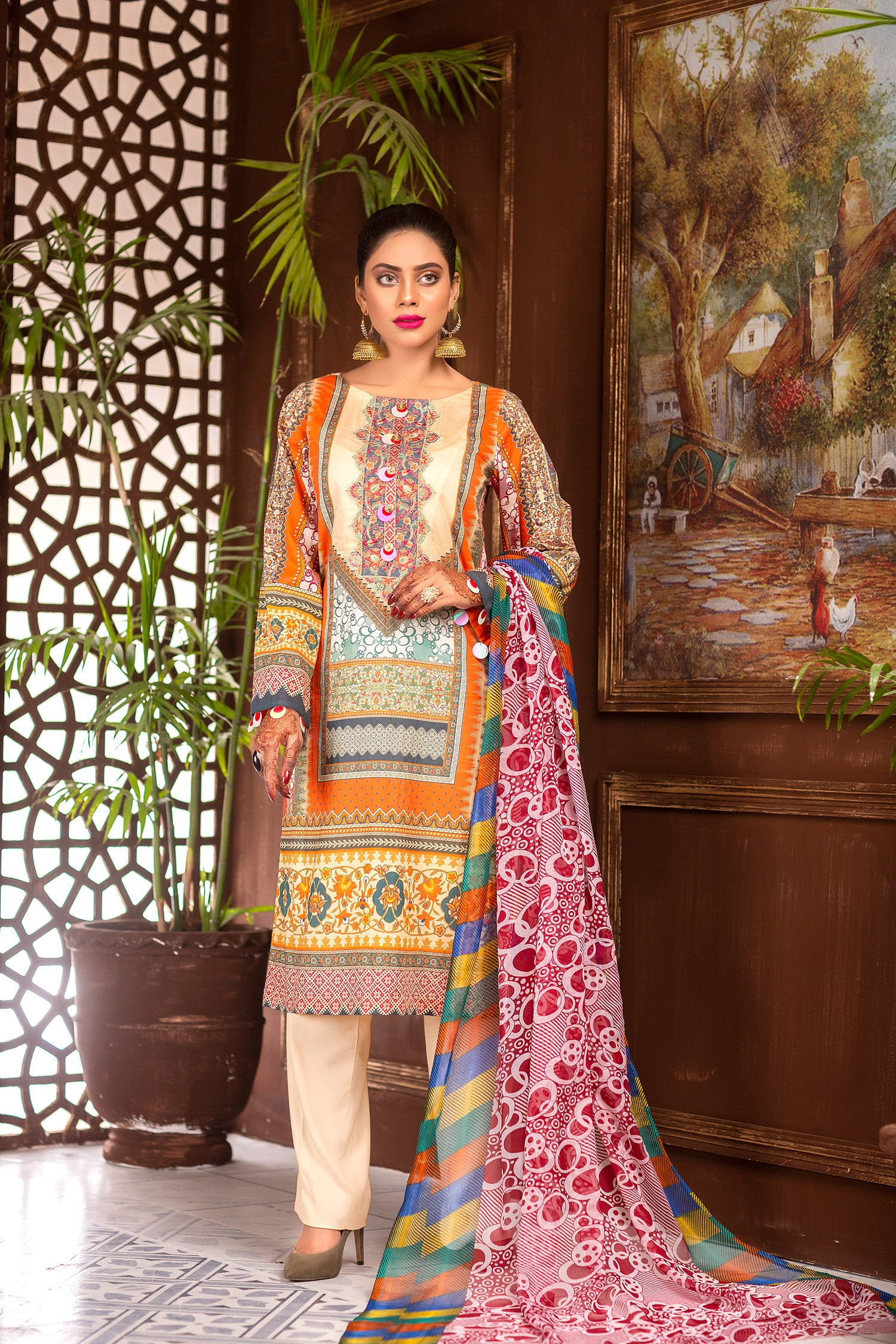 Silk Swin - Digital Printed & Embroidered Lawn Unstitch