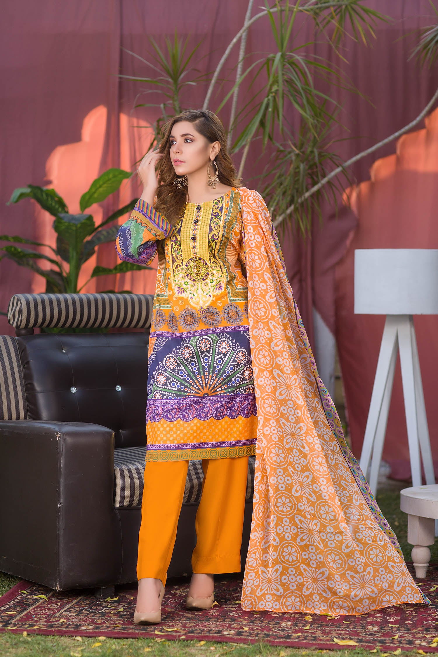 Otis - Digital Printed & Embroidered Lawn 3PC