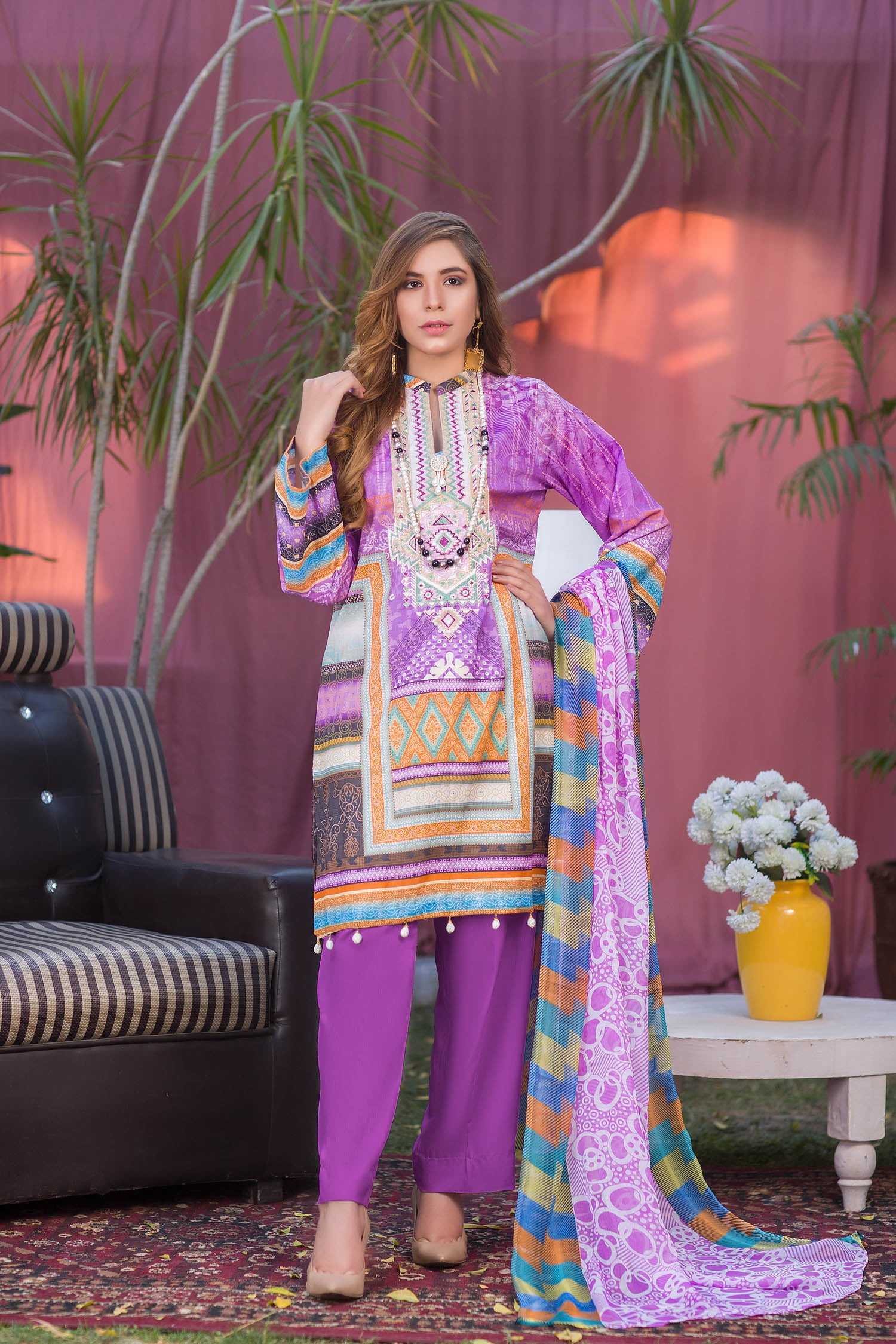 Stella - Digital Printed & Embroidered Lawn 3PC