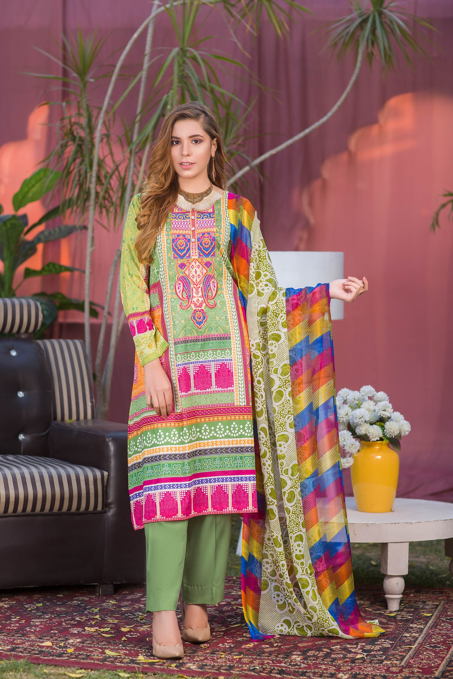 Floyd - Digital Printed & Embroidered Lawn 3PC