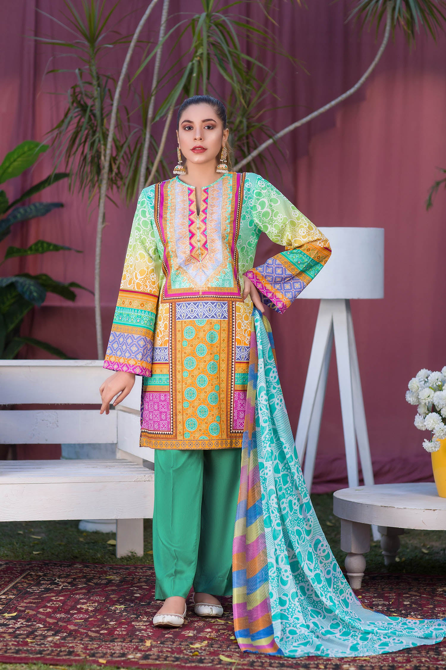 Clem - Digital Printed & Embroidered Lawn 3PC