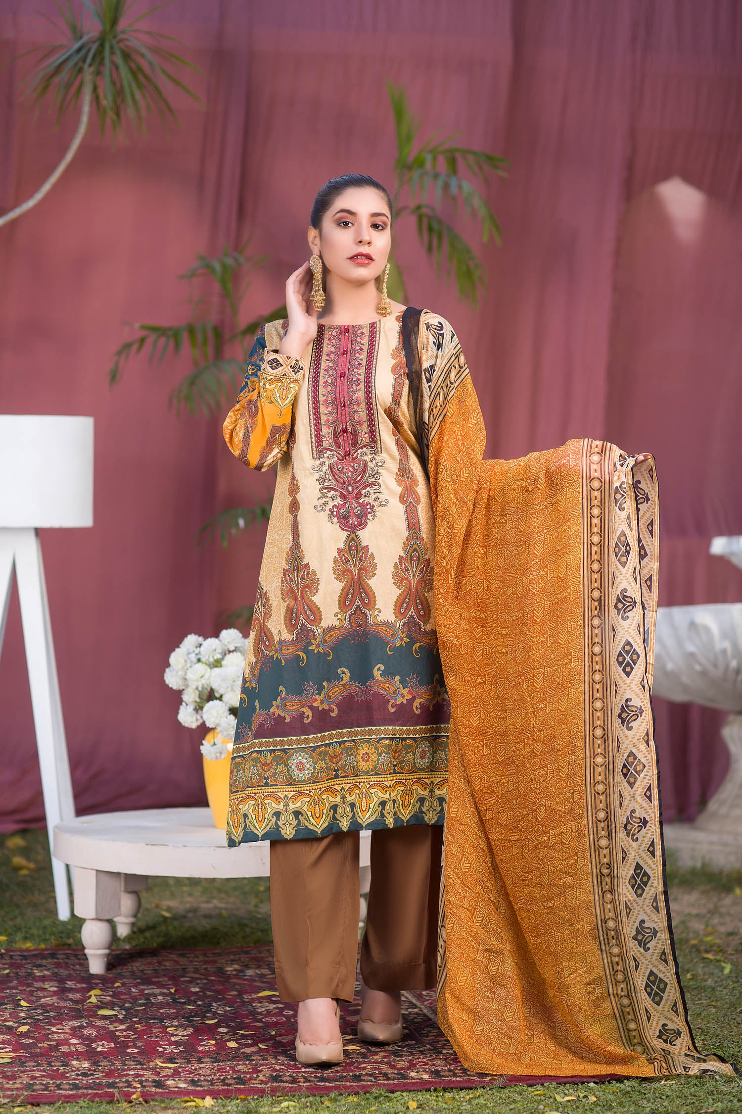 Toril - Digital Printed & Embroidered Lawn 3PC