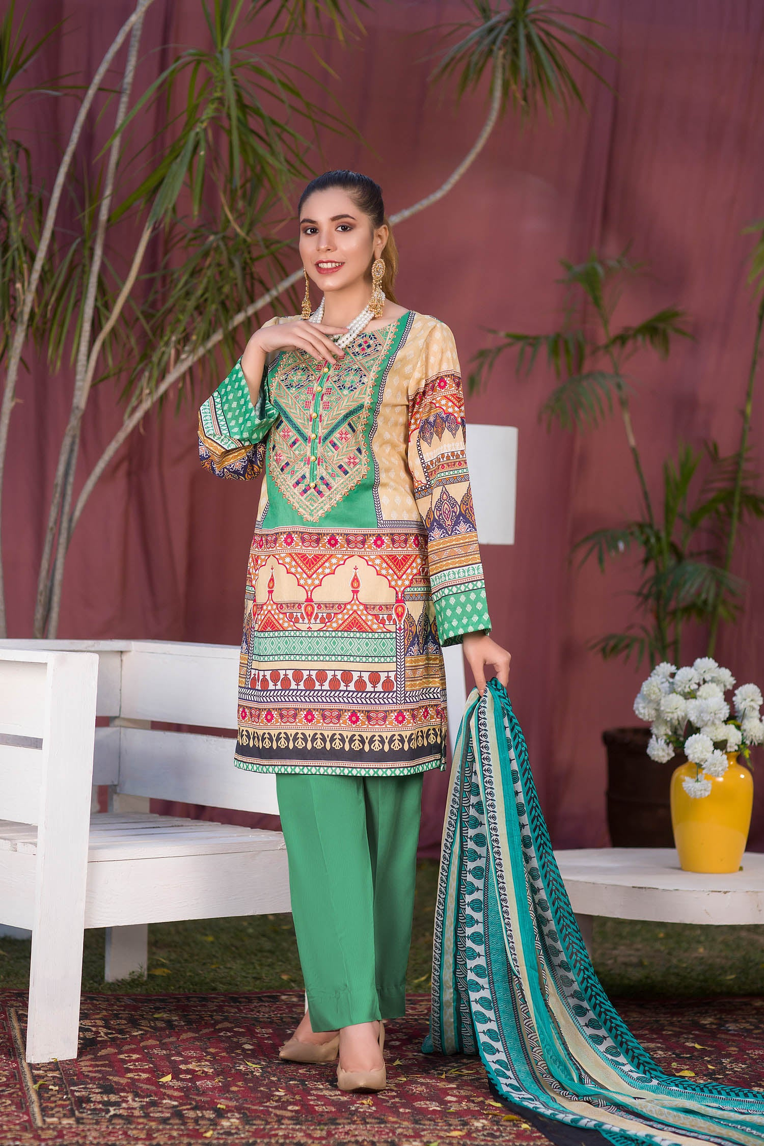 Finola - Digital Printed & Embroidered Lawn 3PC