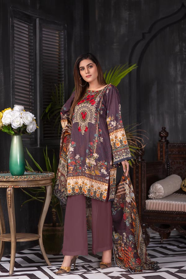 Sangria - Digital Embroidered Lawn (Unstitch)