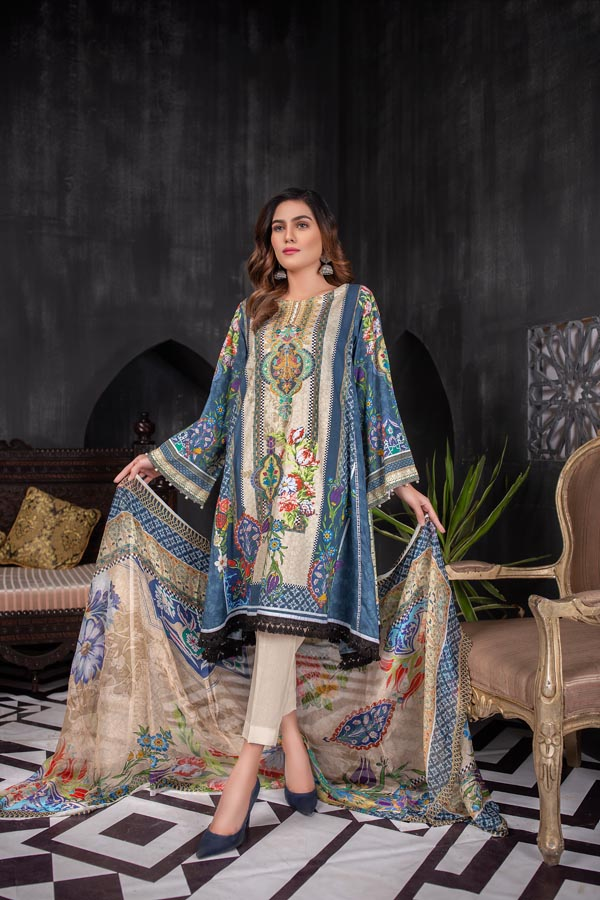 Charming Blue - Digital Embroidered Lawn (Unstitch)