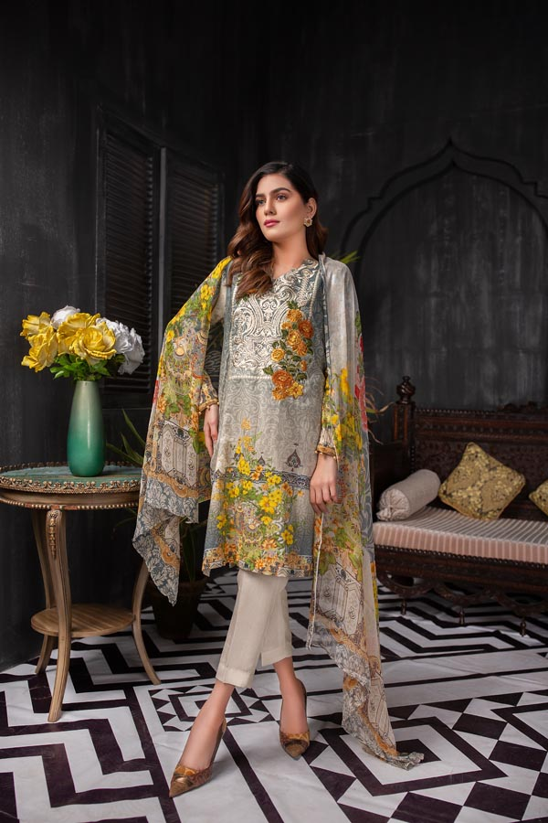 Ash - Digital Embroidered Lawn (Unstitch)