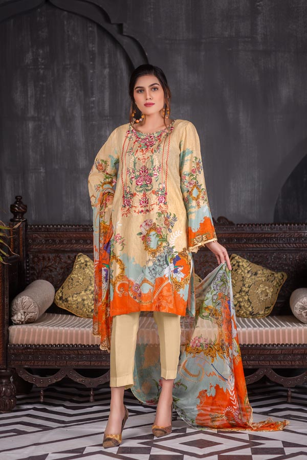 Light Beech - Digital Embroidered Lawn (Unstitch)