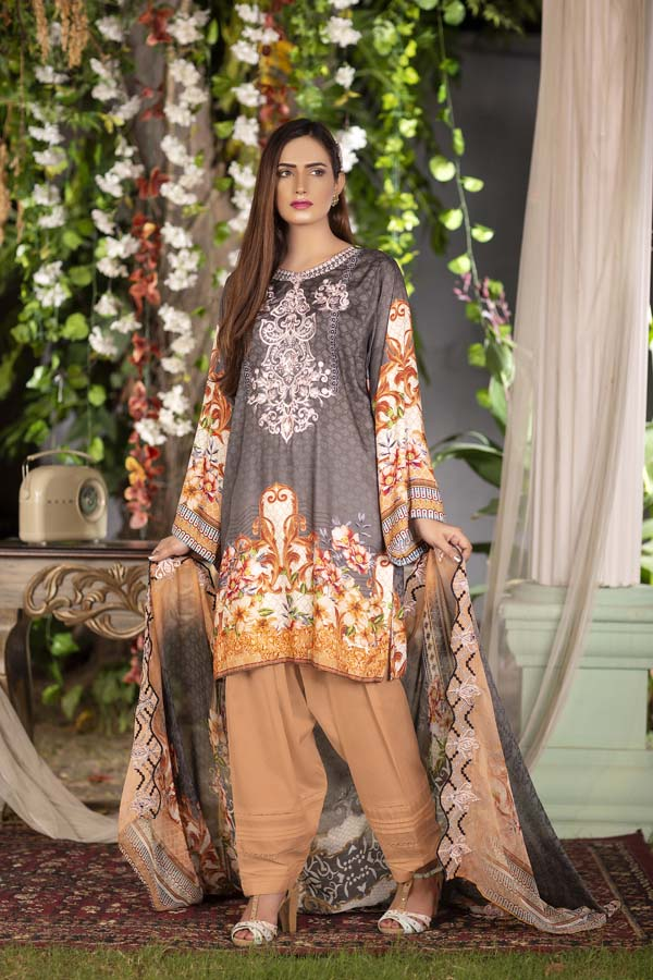 Cicely - Digital Printed & Embroidered Linen 3PC