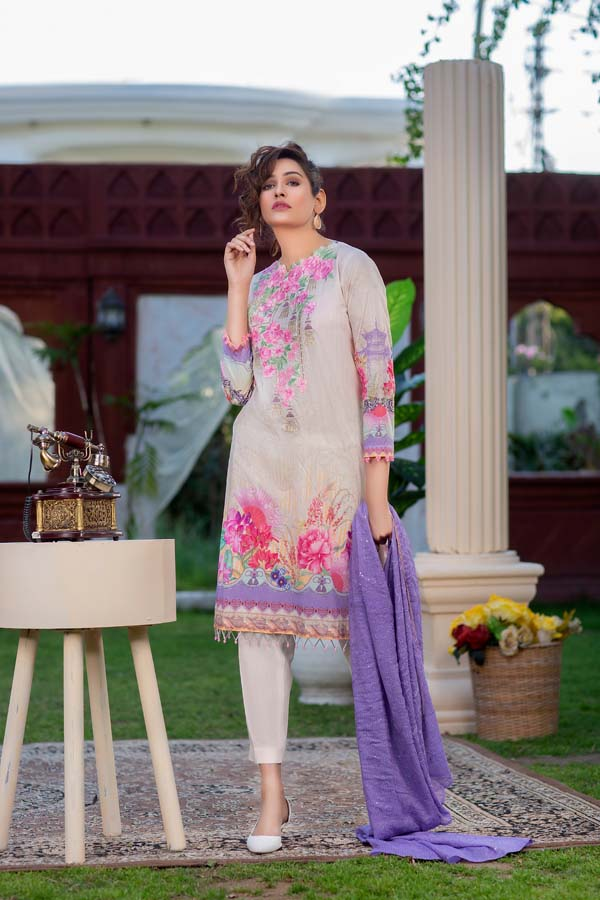 SCARLET SAGE – DIGITAL PRINTED LAWN 3 piece (UNSTITCH)