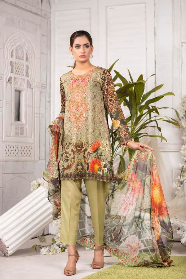 MONGOOSE - EMBROIDERED WITH DIGITAL PRINTED LAWN - 3 PIECE