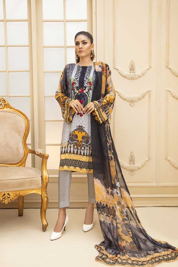 Royal Black - Digital Embroidered Viscose 3 Piece