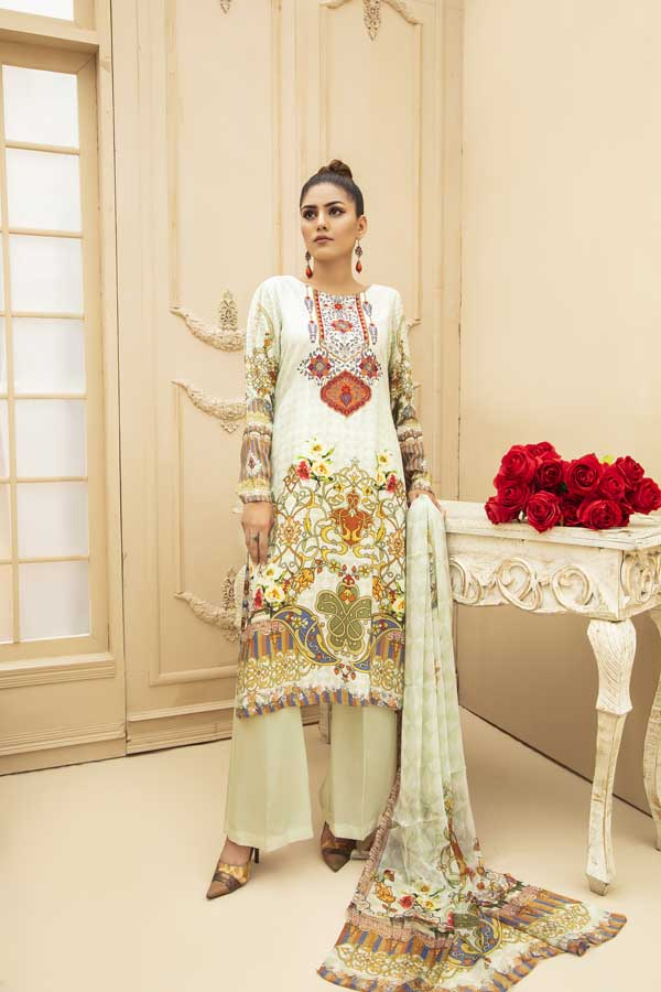 Wolf White - Digital Embroidered Viscose 3 Piece