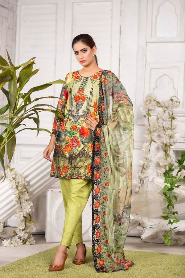 SAPLING - EMBROIDERED WITH DIGITAL PRINTED LAWN - 3 PIECE