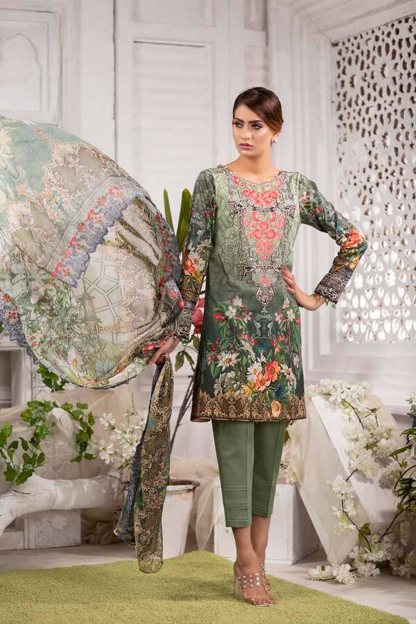 SIAM - EMBROIDERED WITH DIGITAL PRINTED LAWN - 3 PIECE