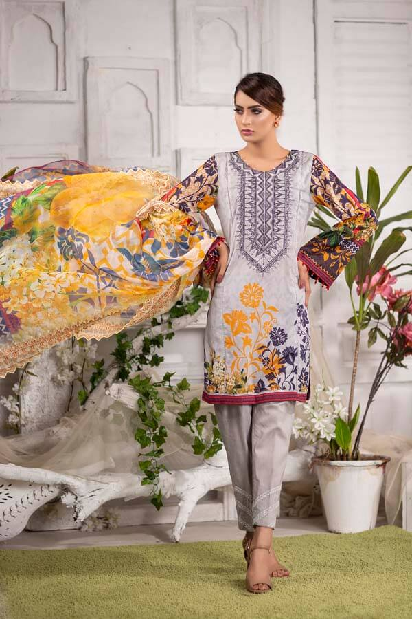 SILVER-RUST - EMBROIDERED WITH DIGITAL PRINTED LAWN - 3 PIECE