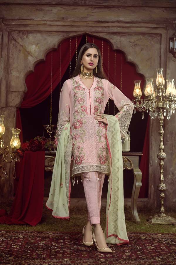 SHILO - EMBROIDERED CHIFFON UNSTITCHED 3 PIECE