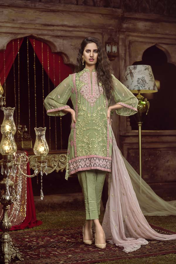 SWAMP GREEN - EMBROIDERED CHIFFON UNSTITCHED 3 PIECE