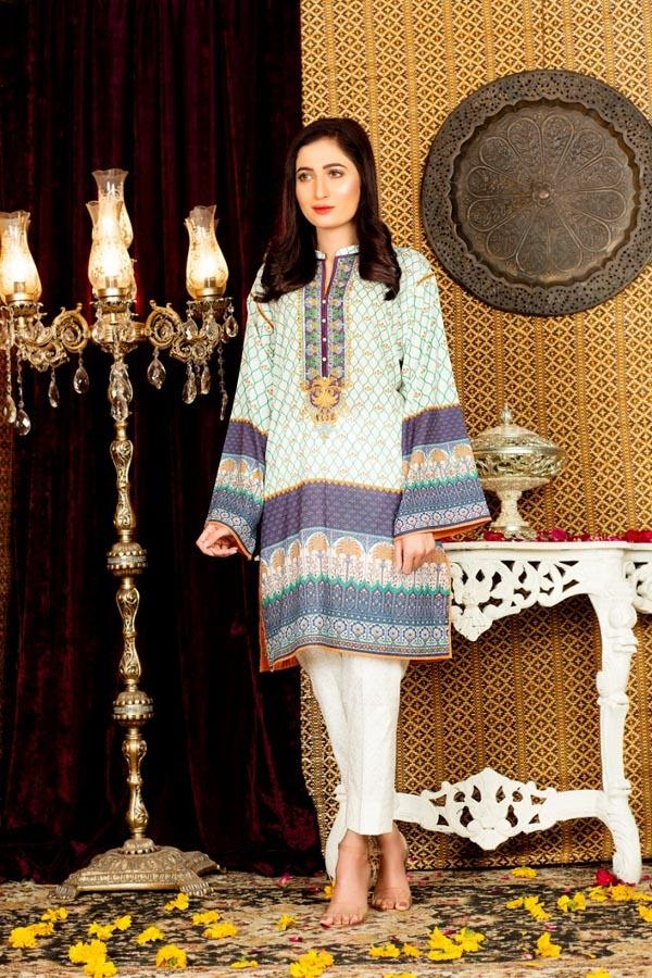 Lisianthus - Digital Embroidered Stitched Lawn Kurti