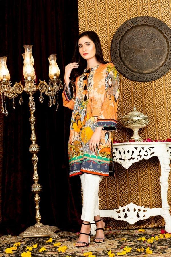Tulips - Digital Embroidered Stitched Lawn Kurti