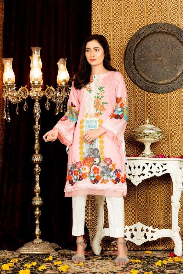 Proteas - Digital Embroidered Stitched Lawn Kurti