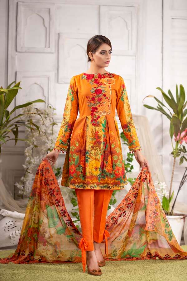 ZEST - EMBROIDERED WITH DIGITAL PRINTED LAWN - 3 PIECE