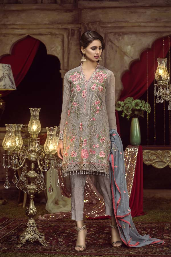 ZORBA - EMBROIDERED CHIFFON UNSTITCHED 3 PIECE