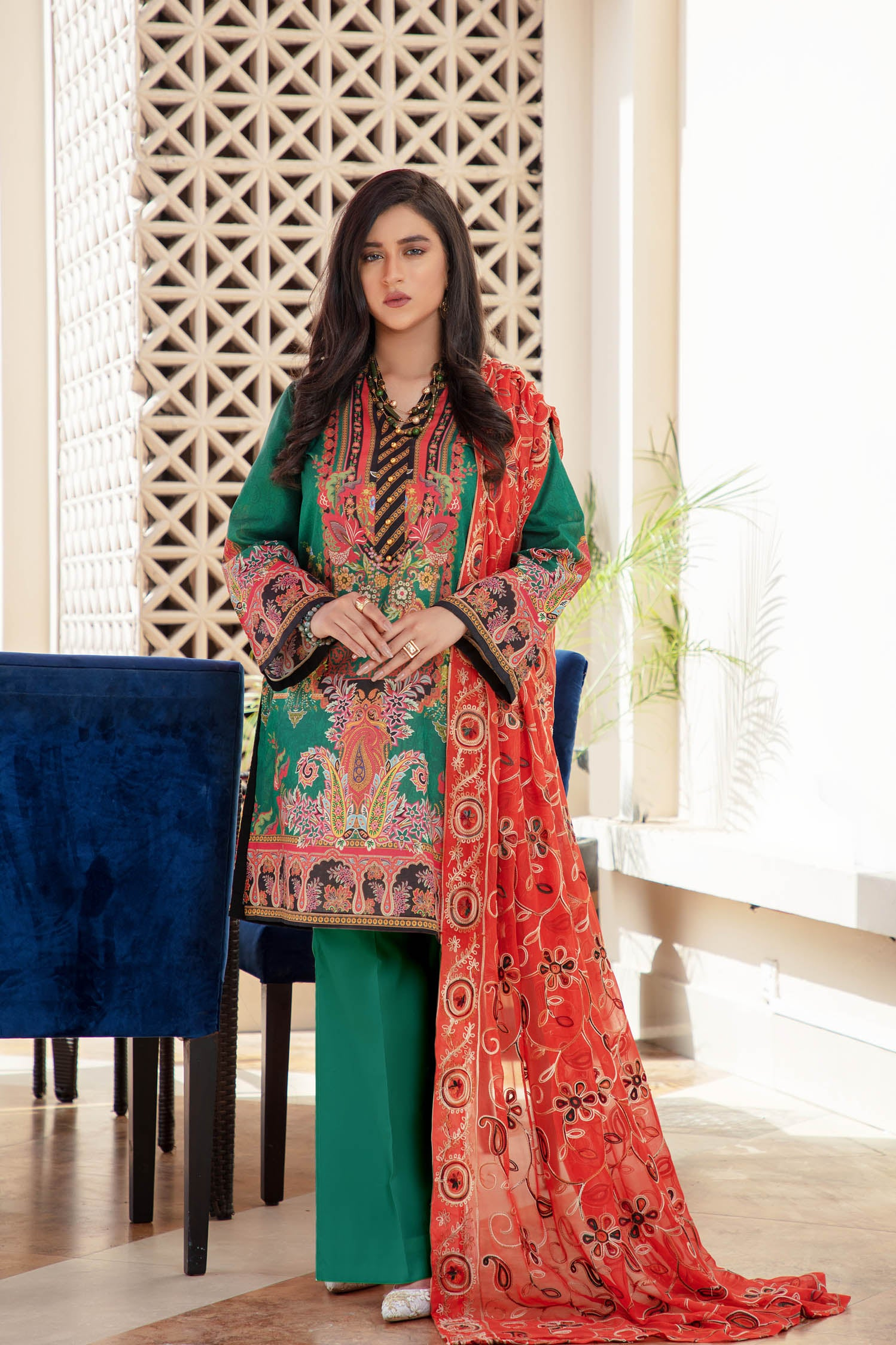 Glorious - Digital Printed & Embroidered Lawn
