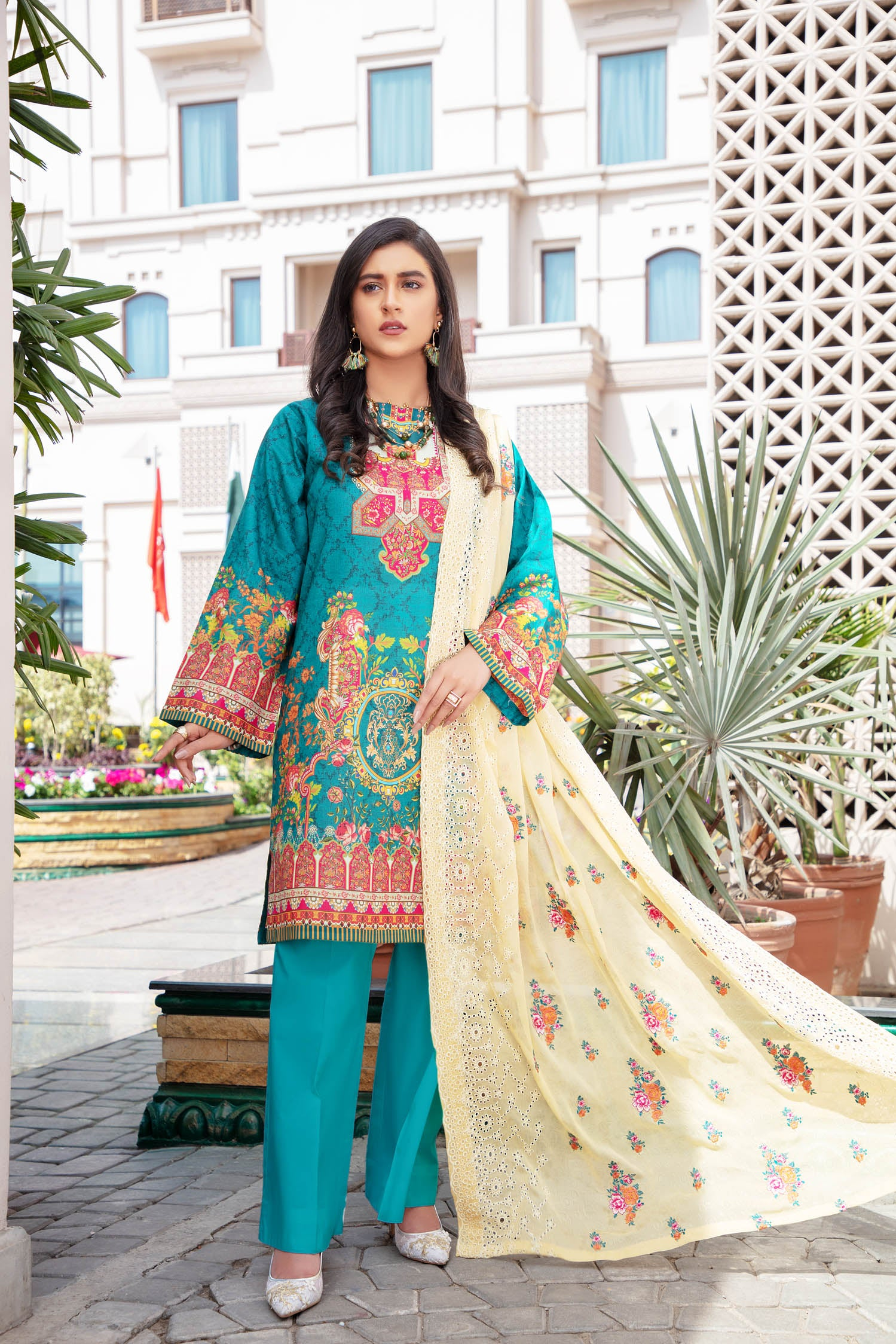 Forest Fiss - Digital Printed & Embroidered Lawn