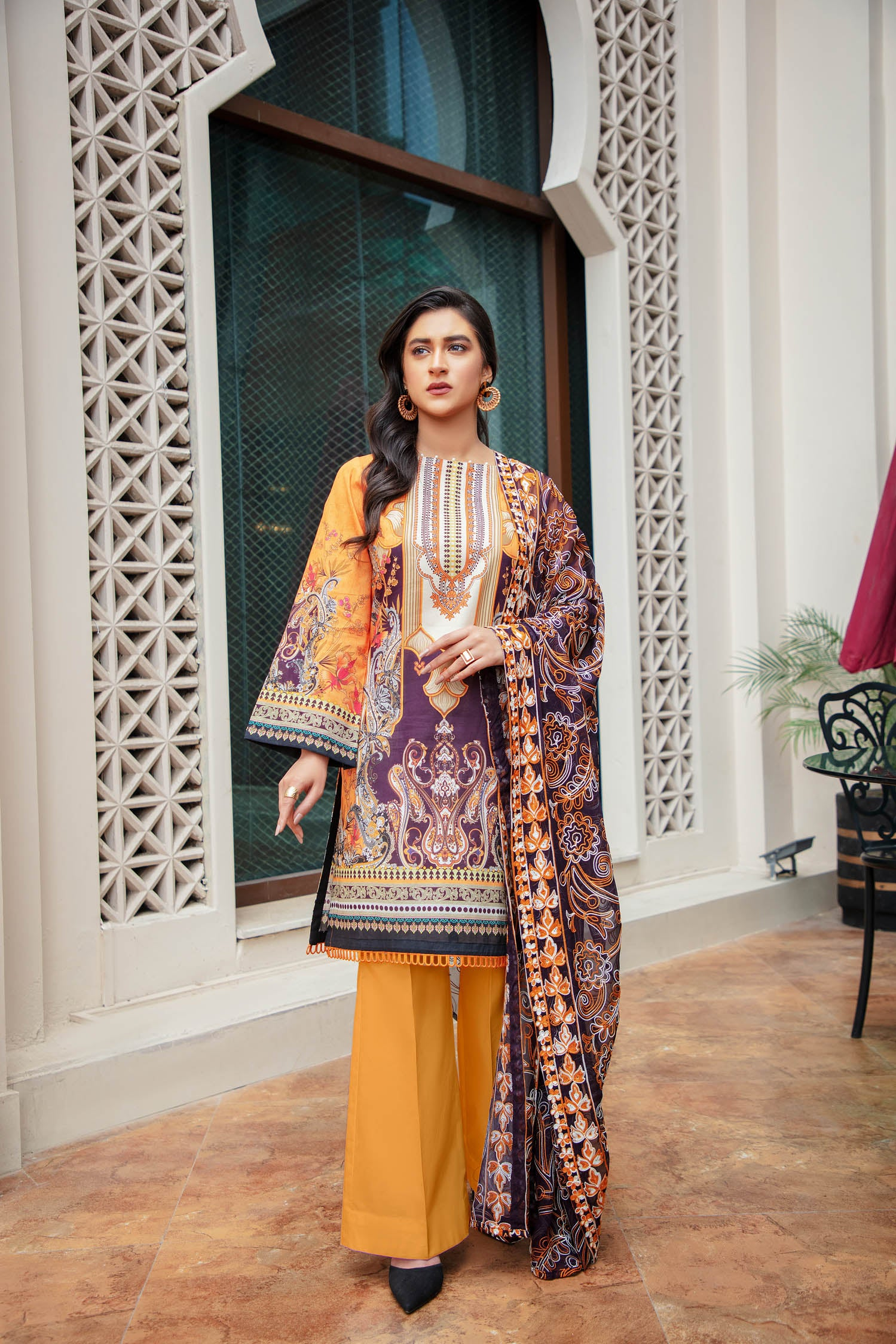 Yellow Label - Digital Printed & Embroidered Lawn