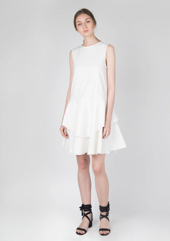 Cotton Stretch Dropwaist Ruffle Dress