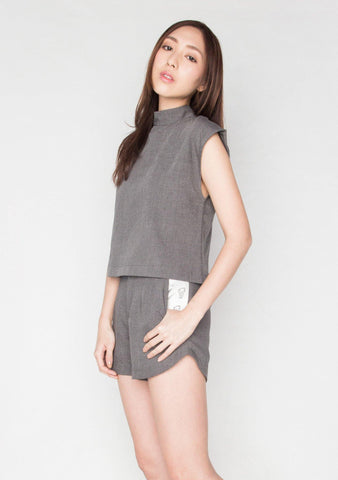 COTTON GREY SHORT TURTLENECK WORK TOP