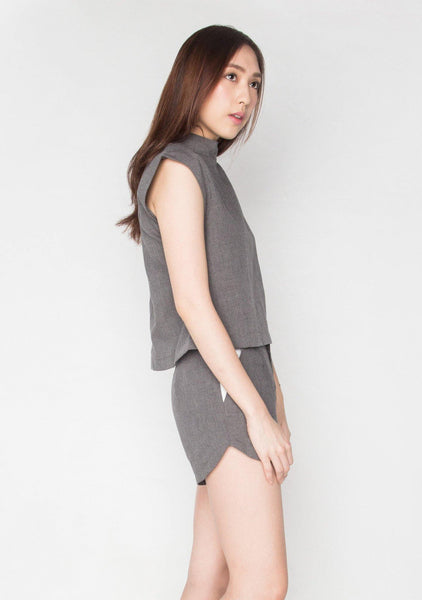 COTTON GREY SHORT TURTLENECK WORK TOP - SALIENT LABEL