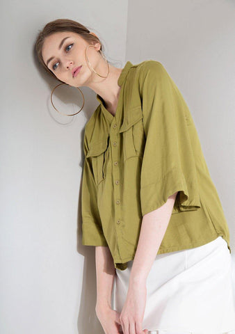 Phan Flare Sleeves Button Down Top