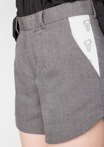 COTTON GREY SHORTS WITH DIGITAL PRINTED PANEL