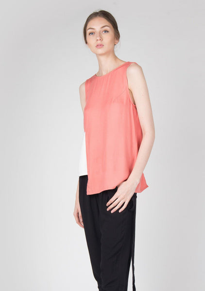 V-back Rayon Top in Coral - SALIENT LABEL
