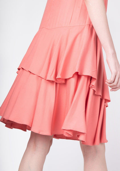 Rayon Dropwaist Ruffle Dress in Coral