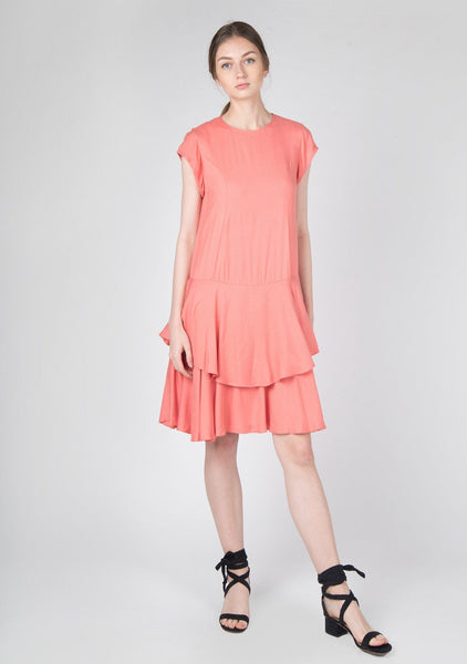 Rayon Dropwaist Ruffle Dress in Coral - SALIENT LABEL
