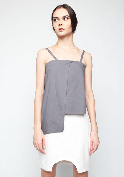 Carrè Panel Top in Grey - SALIENT LABEL