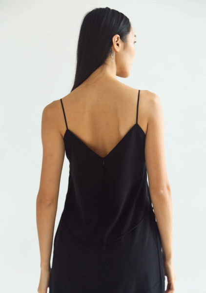 CHASIN ASYMMETRIC SLIP CAMI DRESS - BLACK - SALIENT LABEL