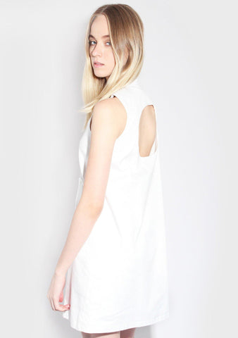 Marilynn Circular Cut Dress in White