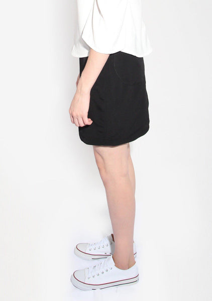 Marquise Black Skirt with Semi-circle Cut Out - SALIENT LABEL