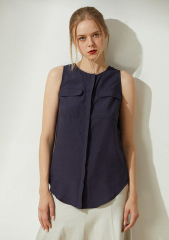 Malv Button-down Top with Slit Back in Navy - SALIENT LABEL