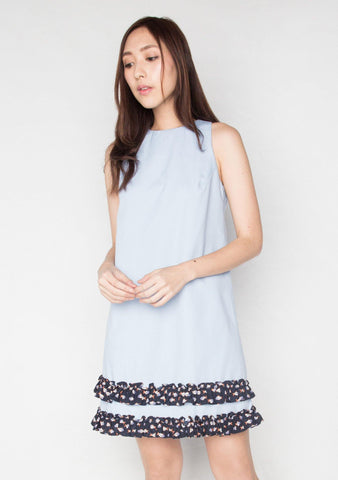 Darvina Oxford Blue Woven Shift Dress 1 - SALIENT LABEL