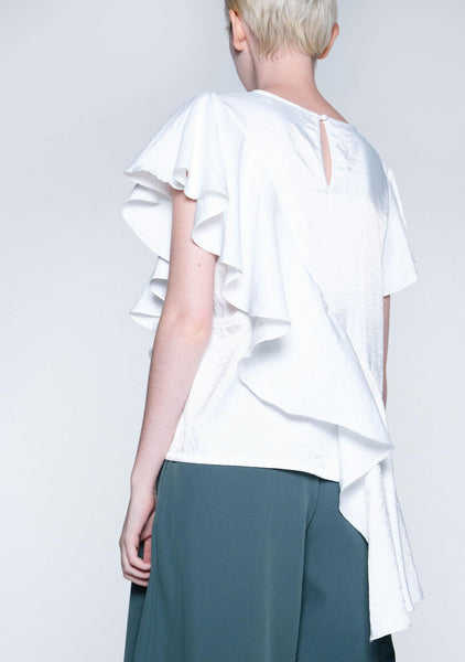OPHELIA RUFFLE TOP - STAR WHITE - SALIENT LABEL