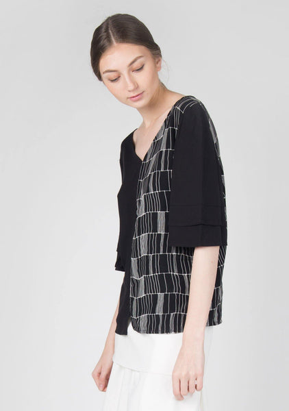 Akela Flare Sleeves Top in Black - SALIENT LABEL