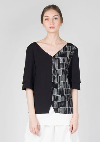 Akela Flare Sleeves Top in Black
