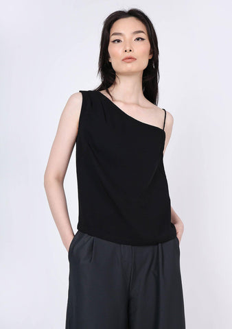 AOI ASYMMETRIC NECKLINE TOP - BLACK - SALIENT LABEL